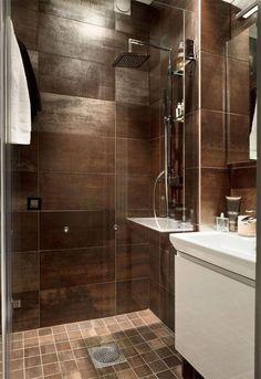 brown Bathroom Decor big bronze tiles for the bath - bathroomdecor Black And Gold Bathroom, Brown Bathroom Decor, Gold Bathroom Accessories, Toilet Accessories, Small Bathroom, Bathroom Ideas, Diy Bathroom Remodel, Shower Remodel, Bathroom Renos