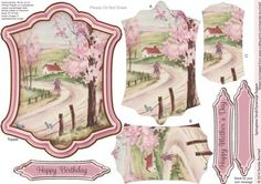 Springtime Stroll Pyramage Topper on Craftsuprint designed by Sandie Burchell - Beautiful Shaped Pyramage Topper with 3 Layers of Pyramage and choice of sentiment panels which includes: Happy Birthday, Happy Mother's Day or Blank for your own message. To search for more in this style click on my name and enter pyramage topper in my search box. Please take a look at my other designs by clicking on my name. - Now available for download!