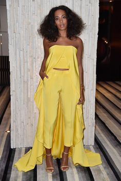 The time she wore this freaking awesome bright yellow Christian Siriano pantsuit.