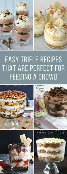17 Easy Trifle Recipes Your Guests Will Go CRAZY For! Easy Trifle Recipes for a Crowd – These trifles are delicious and are perfect for Christmas gatherings – and even book clubs and pot luck too! Potluck Desserts, Potluck Dishes, Desserts For A Crowd, Köstliche Desserts, Potluck Recipes, Delicious Desserts, Dessert Recipes, Yummy Food, Potluck Ideas