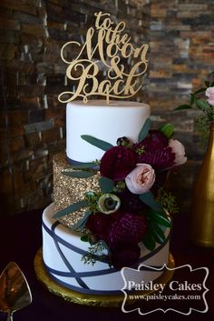 Abstract Charcoal Grey and Gold Sequin Wedding Cake with Burgundy and Blush Pink Flowers. Made by Paisley Cakes, Blackfoot Idaho.