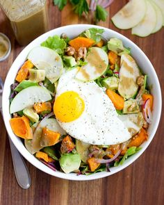 Now this is what I call brunch... harvest breakfast salad with sliced apples cinnamon roasted butternut squash walnuts and avocado with an egg on top.   Excuse me while I dig in! . (Recipe link is in my profile.) . . . #saladeveryday #saladslimdown #breakfastsalad #saladpower #salad #glutenfree #eatclean #wholefoods #jerf #getinmybelly #goodeats #igfood #cleanfood #foods4thought #bhgfood #tiu #bbg #todayfood #buzzfeast #buzzfeedfood #huffposttaste #feedfeed #thekitchn #organicfood…