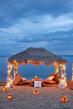Sleep on the beach....Ok..I don't need all of this..just a blanket and pillow...But this sure would be nicer!