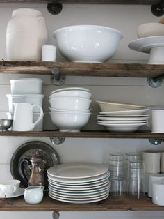 Galvanized Pipe Fittings as Shelf Hangers, clever and sturdy, but fairly expensive.
