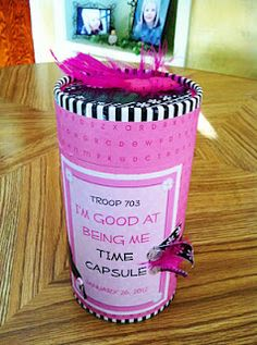 Girl Scout ideas - Daisy Flower garden Journey, final craft/lesson, instead of just letter of what you want to tell next year's new Daisies, include letter in Time Capsule Girl Scout Swap, Girl Scout Leader, Girl Scout Troop, Cub Scouts, Girl Scout Activities, Fun Activities, American Heritage Girls, Girl Scout Camping, Girl Scout Juniors