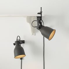 IKEA - HEKTAR, Wall/clamp spotlight, dark gray, The lamp can be mounted in two ways: as a clamp spotlight or as a wall lamp. IKEA recommends LED reflector bulb May be completed with other lamps in the same series. Luminaire Ikea, Led E14, Spot Mural, Wall Spotlights, Ikea Family, Old Lamps, Best Ikea, Wall Lights, Lights
