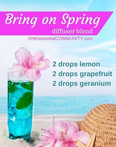 Bring on Spring essential oil diffuser blend-- Love the combination of lemon, grapefruit, and geranium; it's fresh and slightly sweet, just like spring!