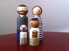 Custom Peg Doll Family of 4  Peg People painted to by PegBuddies, $50.00