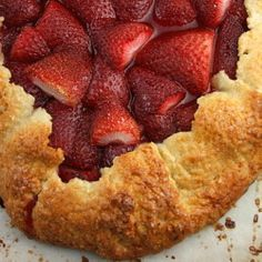 Rustic Strawberry Galette with Fig Jam and Cookie Crumbs in a Crunchy Cornmeal Crust
