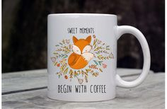 Fox Coffee Mug - Cute Quote Coffee Mug - Inspirational Fox Mug - Fox Floral Coffee Mug - Woodland Mug - Coffee Lover - Coffee Gifts for Mom by GypsyJunkClothing on Etsy