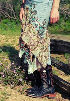 Silk scarves + old jeans = fun altered upcycled skirt!