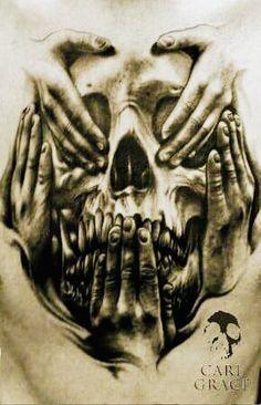 hear no evil see no evil tattoo designs men Car Tuning Evil Skull Tattoo, Evil Tattoos, Demon Tattoo, Skeleton Tattoos, Skull Tattoo Design, Tattoo Design Drawings, Badass Tattoos, Skull Tattoos, Tattoo Designs Men
