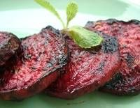 balsamic grilled beetsslice fresh beets 1/4 inch thick, place on hot grill, brush with olive oil, balsamic vinegar and cook until done (10-15 minutes), then sprinkle with salt and pepper.