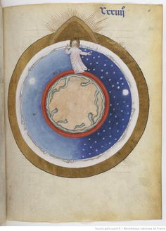 Missale et horae ad usum Fratrum Minorum. 1301-1400. God creating the heavens and the Earth. The creatures of the zodiac creep around the edge of the Celestial Sphere.