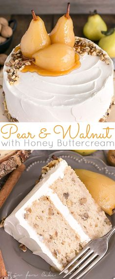 This Pear & Walnut Cake with Honey Buttercream is the perfect way to kick off the Fall season. | livforcake.com