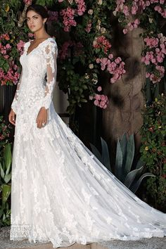 Wholesale Newest V-Neck Illusion Long Sleeves A-Line Covered Button Elie Saab Beach/Garden/Church Lace Wedding Dresses Bridal Gowns With Court Train, Free shipping, $132.37/Piece | DHgate Mobile