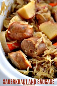 Sauerkraut and Sausage - Small Town Woman - Beef Crock Pot Slow Cooker, Crock Pot Cooking, Easy Cooking, Slow Cooker Recipes, Crockpot Recipes, Cooking Recipes, Casserole Recipes, Drink Recipes, Vegetarian Recipes