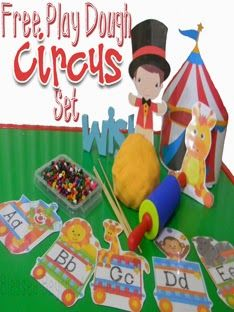 Super FUN! FREE Circus Playdough Mats with homemade playdough recipe.