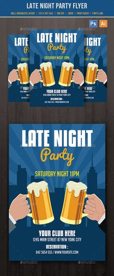 Late Night Party Flyer Template PSD, AI Illustrator. Download here: http://graphicriver.net/item/late-night-party-flyer/16401570?ref=ksioks