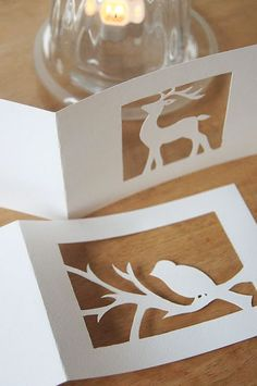 Silhouette Christmas cards- or create a Moose design for NH Kirigami, Paper Art, Paper Crafts, Diy Crafts, World Crafts, Paper Cutting, Cardmaking, Christmas Cards, Holiday Cards