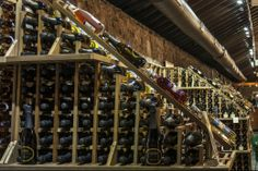WineRacks.com's mahogany retail wine racks in Brotherhood Winery