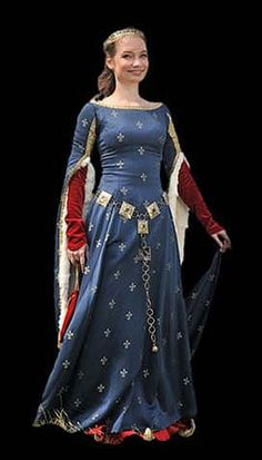 Gowns Blue medieval gown with red. Medieval Gown, Medieval Costume, Medieval Clothing, Medieval Gothic, Gypsy Clothing, Medieval Wedding, Mode Renaissance, Renaissance Fashion, Historical Costume