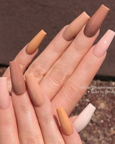 Awesome coffin nails are the hottest nails now. We collected of the most popular coffin nails. So, you don't have to spend too much energy. It's easy to find your favorite coffin nail design. Square Acrylic Nails, Fall Acrylic Nails, Acrylic Nail Designs, Acrylic Gel, Classy Acrylic Nails, Perfect Nails, Gorgeous Nails, Pretty Nails, Tapered Square Nails