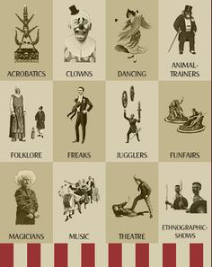 vintage circus acts...to help with inspiration if you are choosing to get some acts in for your party