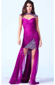 Mac Duggal 2014 Prom Dresses - Magenta & Multi Jewel Embellished Cut Out Collar Ruched High-Low Gown - Unique Vintage - Prom dresses, retro dresses, retro swimsuits. Short Long Dresses, High Low Prom Dresses, Prom Dresses 2016, Prom Dresses Online, Formal Dresses, Vestidos Retro, High Low Gown, Couture Mode, Prom Dress Shopping