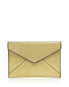 Rebecca Minkoff Leo Crackle Leather Clutch