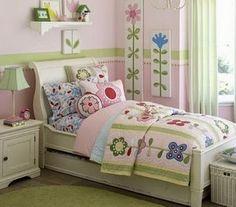 Dormitorios en verde y rosa para niñas