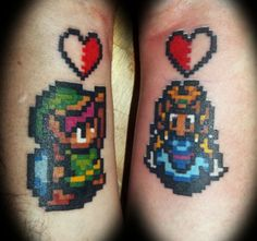 8-bit Link and Zelda. Tattoos for couples - #tattoos #gaming #gamers #zelda