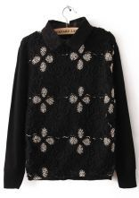 Black Lace Lapel Big Flowers Embroidery Sweater $33.87 #SheInside