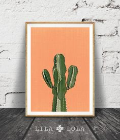 Cactus Print, Orange,Terracotta, Mexican, Arizona, South Western, Desert, Botanical Art Print, Cactus Print Wall Art Decor, Printable Art