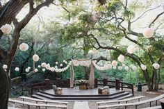 ampitheater wedding.   #wedding#tissue balls#outdoor wedding