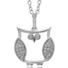 ASPCA® Tender Voices™ 1/10 CT. T.W. Diamond Owl Pendant in 10K White Gold
