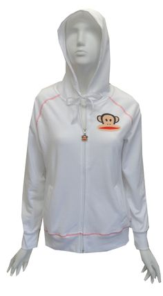 Paul Frank Julius White Zip Front Hoodie, $24  The only word we can use to describe this is YUMMY! This crisp white hoodie is made of a soft cotton/poly blend in french terry and has Julius' face emroidered on the left chest. Hoodie has a two pockets and contrast stitching. Junior cut.