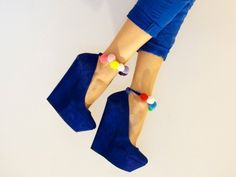 Crazy, blue wedges. sophie