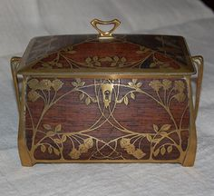 Art Nouveau rosewood inlay on brass, jewelry or cigar box from the German manufacturer, Erhard and Söhne