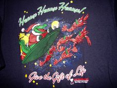 Cajun Christmas T-Shirt Heaux Heaux Heaux Crawfish Pulling Gator Santa Pirogue…