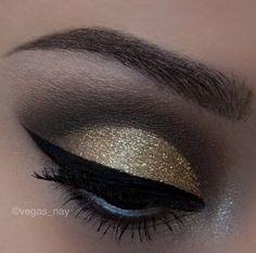 Gold & black eye makeup