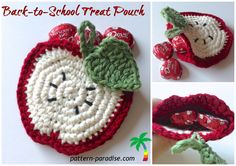 Crochet Purse Free Crochet Pattern Apple Coasters or Goodie Pocket - Free crochet pattern for apple shaped goodie pocket or coaster, perfect for teacher gifts or Halloween goodies too. Crochet Apple, Crochet Food, All Free Crochet, Crochet Kitchen, Cute Crochet, Crochet Coaster Pattern, Crochet Motif, Crochet Flowers, Crochet Patterns
