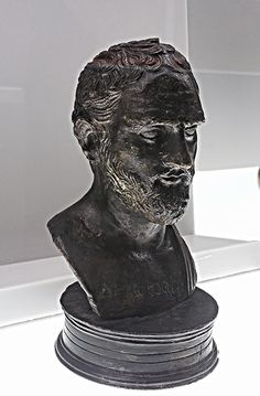 """Small bust of Demosthenes with his name engraved on his chest thus providing the countenance of the orator - Herculaneum, Villa of Papyri - bronze 1st century BC based on an original early 3rd century BC - Exhibition """"Charles of Bourbon [Carlos III] and the diffusion of Antiquities: Naples, Madrid, Mexico"""" up to March 22, 2017 - Naples, Archaeological Museum www.flickr.com/groups/37996655186@N01/discuss/72157676330..."""