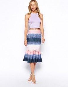 Shop ASOS Peplum Hem Scuba Pencil Skirt In Watercolour Ombre Print at ASOS. Summer Skirts, Summer Outfits, Summer Clothes, Scuba Fabric, Ombre Effect, Rock, Barneys New York, Pretty Outfits, Tie Dye Skirt
