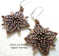 August Earrings | JewelryLessons.com  I love this pattern!  You can link the motifs together to create a bracelet too!