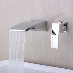 Contemporary Wall-mounted Waterfall Chrome Finish Curve Spout Bathroom Faucet - USD $ 71.99