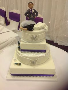 4 Tier Wedding Cake With Purple And Bling Ribbon Drunk Bride Groom Topper