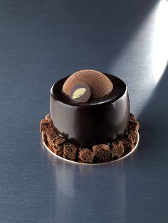 mousse au chocolat noir, crème à la vanille