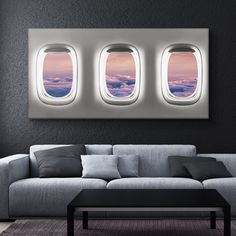 """Window Seat (Clouds Edition)"" by IKONICK. Save me a window seat. Let your world traveler out with this colorful airplane travel style canvas print. Even our walls like the idea of a vacation. Make… Daha fazlası Airplane Decor, Airplane Window, Airplane Travel, Deco Aviation, Travel Room Decor, Aviation Furniture, Farmhouse Wall Decor, Room Wall Decor, Bedroom Decor"