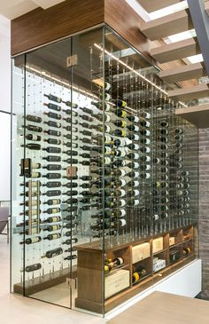 Cable Wine System featuring the Label View configuration where the vintage is the prominent element. Glass Wine Cellar, Wine Cellar Racks, Home Wine Cellars, Wine Cellar Design, Bodega Bar, Wine Cellar Basement, Bar A Vin, Wine House, Wine Display